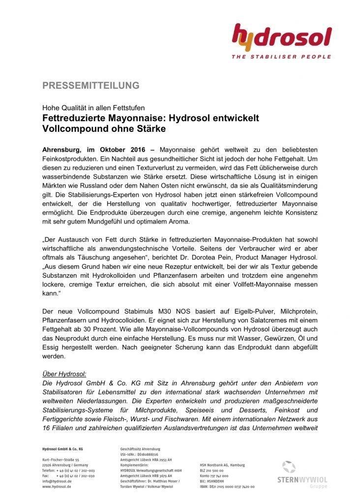 Presseinformation Hydrosol_Stärkefreie Mayonnaise