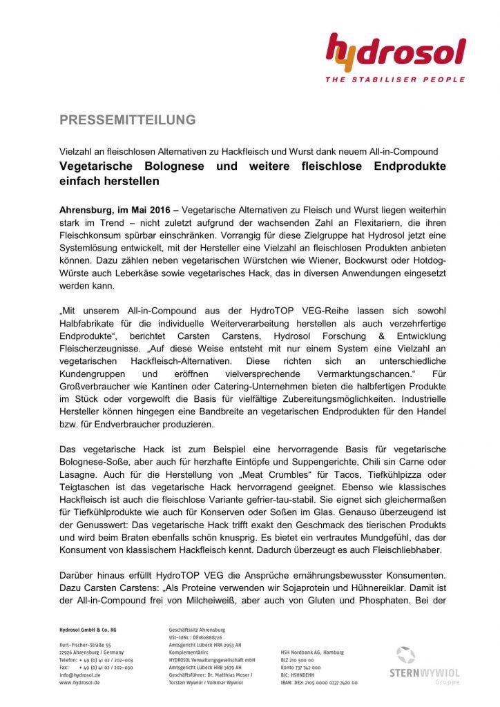 Presseinformation Hydrosol_Vegetarische und vegane Fertiggerichte