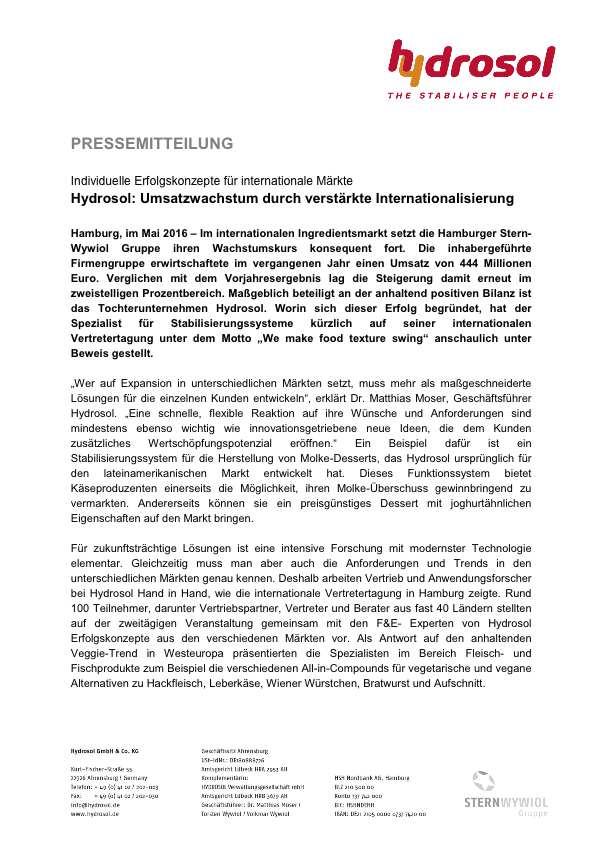 Presseinformation Hydrosol_Vertretertagung 2016