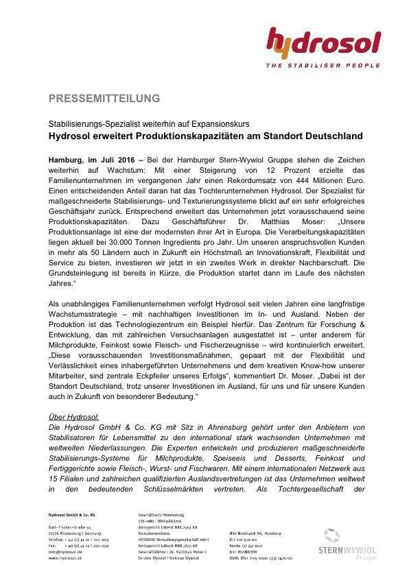 Pressinformation Hydrosol_Ausbau Produktionskapazitäten